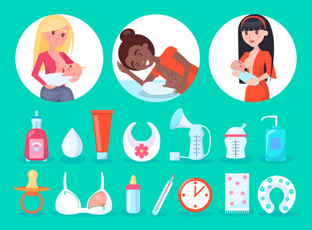 Items and breastfeeding moms, circled images and children, tubes and bib, container and special bra, cock and thermometer, set vector illustration