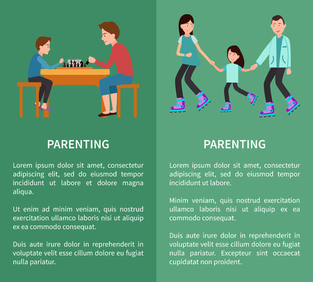 Parenting posters set father and son playing chess, family roller skating together vector posters happy childhood concept free time with parents Ilustrace