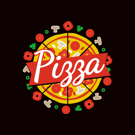 Delicious pizza cafe commercial emblem composed of cheesy slices and ingredients around isolated cartoon vector illustration on black background.