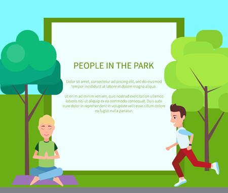 People in park poster and filling form wit headline and text sample, meditation and yoga, jogging and activities, isolated on vector illustration