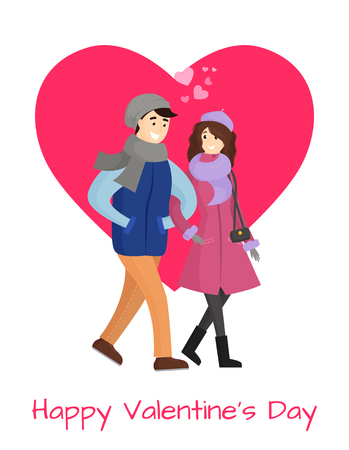 Happy Valentines day poster young couple in winter cloth vector isolated on pink heart. Dating girlfriend and boyfriend in warm apparel, hearts over heads Illustration
