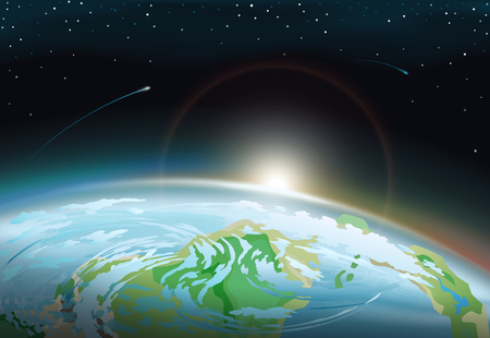 Spectacular spacescape with part of Earth surface and bright Sun on horizon anong stars that shine and fall in dark sky cartoon vector illustration. Illustration