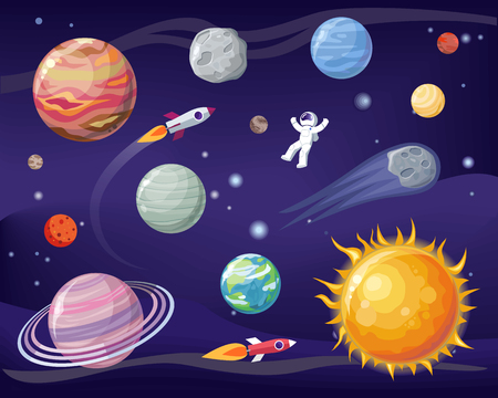 Space and planets set, poster with astronaut wearing special suit, Sun and Earth, stars and cosmos, vector illustration isolated on black and blue