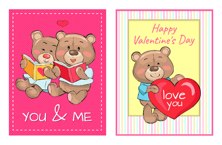 Happy Valentines Day You and Me Posters Set