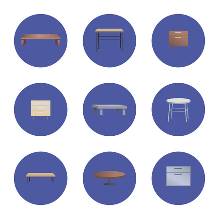 Fashionable Wooden Coffee and Bedside Tables Set Stock Illustratie