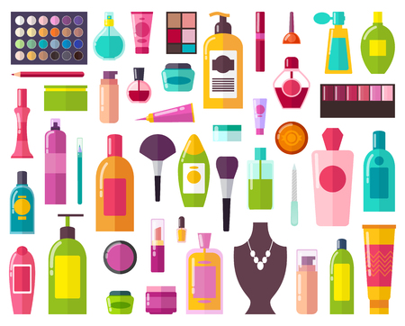 Beauty Means and Decorative Cosmetics Collection Illustration