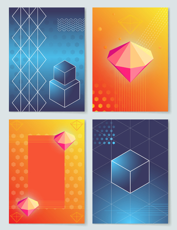 Diamonds and Cubes Collection  Illustration