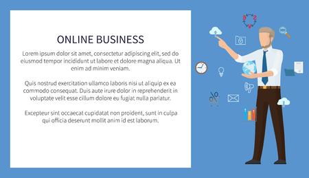 Online Business Poster Color  Illustration Stock Illustratie