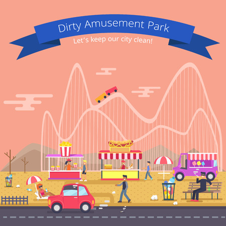 Dirty Amusement Park Poster  Illustration