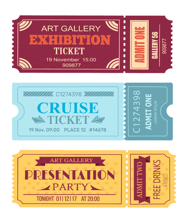Art gallery exhibition ticket, cruise coupon, presentation party tonight pass admitons with control code set vector illustration isolated on white