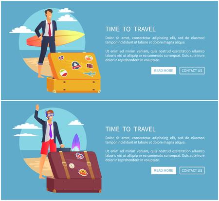 Time to Travel Set of Web Page  Illustration Ilustração