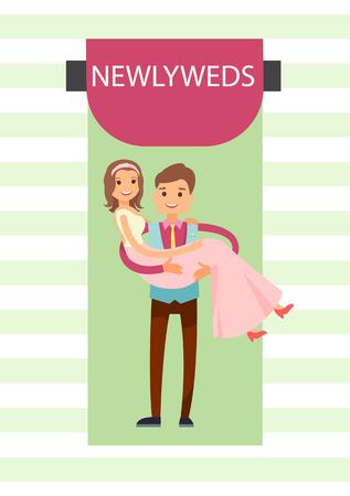 Newlyweds Bride and Groom  Illustration  イラスト・ベクター素材