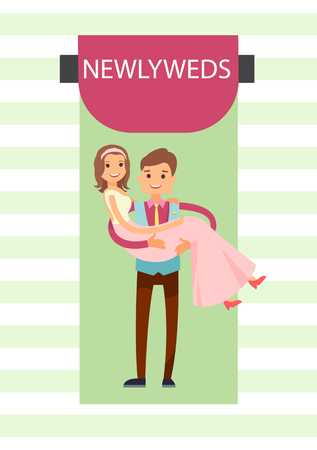 Newlyweds Bride and Groom  Illustration Illustration