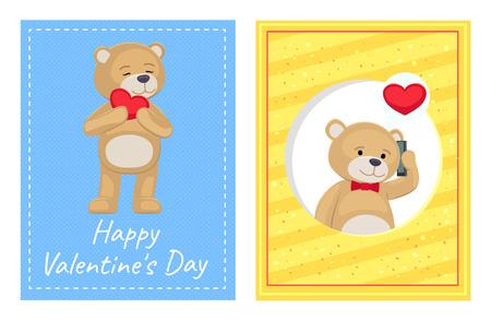 Happy Valentines Day Posters Set Plush Bears Toys Illustration