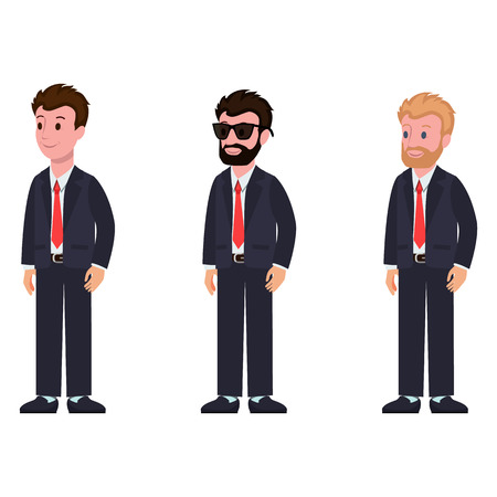 Cartoon characters in classic suit and tie side view, with different hairstyle and color, with beard and glasses vector illustration isolated on white