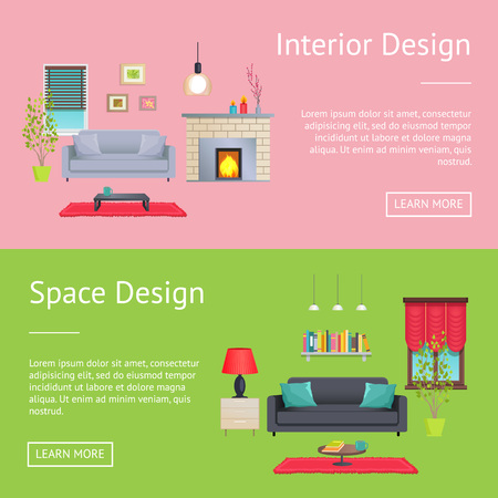 Interior and space design web pages collection with text and headline and buttons, decor of rooms, sofa and carpet on floor, vector illustration