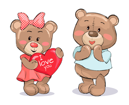 Pair of Soft Fluffy Teddies Holds Heart with Text Ilustração