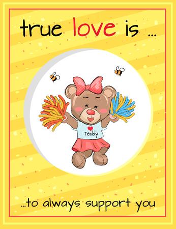 True Love Always Supports Teddy Girl Cheerleader Illustration