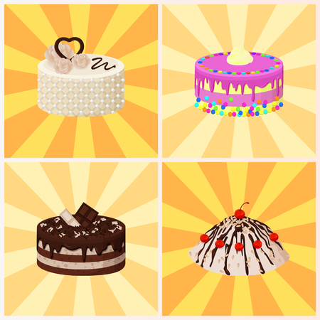 Sweet bakery collection, poster with cakes made of cream and biscuit, berries and chocolate, strawberries and blueberries, isolated on vector illustration on background with rays