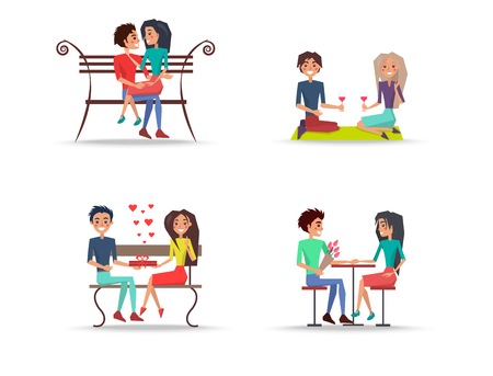 Set of four couples in love on white background.