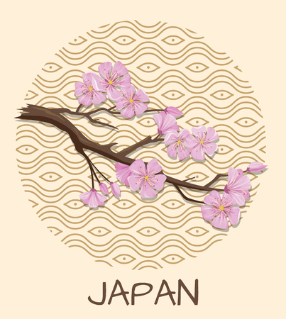 Japan promo poster with sakura branch with pink blossom and pattern in circle isolated cartoon flat illustration on beige background. Illustration
