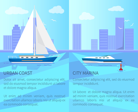Urban coast and city marina vector illustration with black text sample, sail boat and speed vessel, set of skyscraper, cute clouds and white seagulls