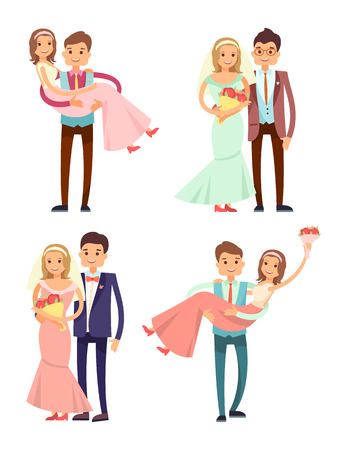 Married Couples Collection Vector Illustration
