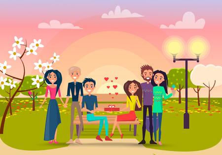 Happy cartoon Couples in Park at Sunset Illustration 일러스트