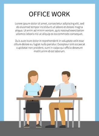 Office Work Colorful Poster Vector Illustration