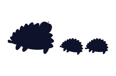 Hedgehogs , Apple Silhouette Vector Illustration