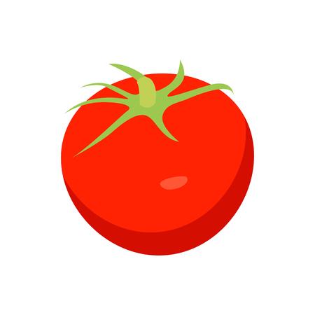 Bright Red Tomato Closeup Card Vector Illustration Иллюстрация