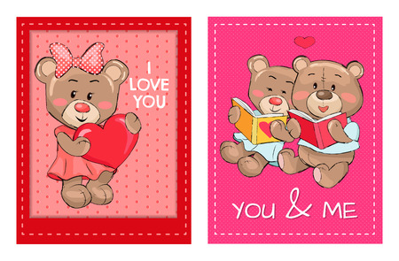 I Love You and Me Teddy Bears Reading Books Vector Illustration