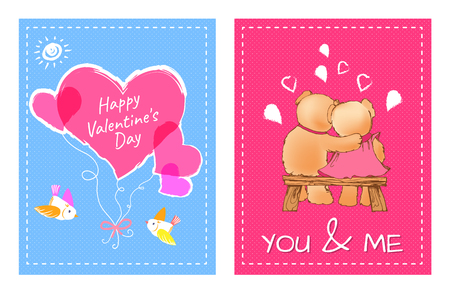 I Love You and Me Teddy Bears Vector Banque d'images - 101087295
