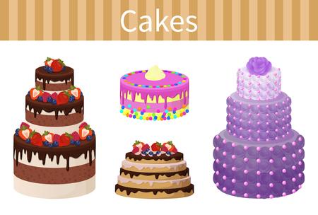 Various Delicious Desserts Vector Illustration Ilustrace