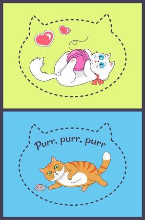 Set of Pretty Banners with Playing Funny Cats