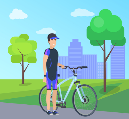 Male with Bike in Special Suit at City Park Vector