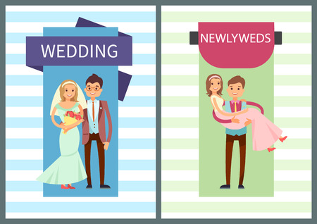 Wedding and newlyweds set of placards, headlines and couples, ceremony of marriage of bride and groom, posters isolated on vector illustration