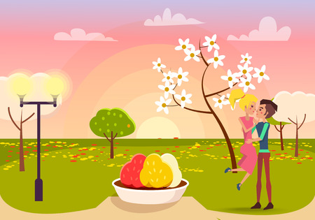 Man in love holding blonde woman on sunset in park vector illustration. Blossom tree, green grass, color flowerbed and lights at spring Illustration