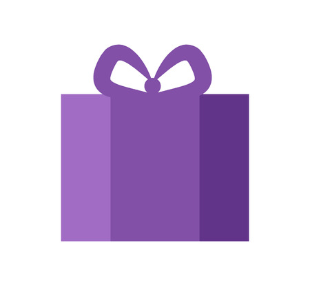 Present of purple color with bow on top, banner with object given to people for them to be surprised and happy, isolated on vector illustration  イラスト・ベクター素材