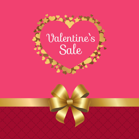 Valentines sale poster with heart made of golden stars, sparkling hearts elements on pink with decorative ribbon dividing banner by ribbon of gold