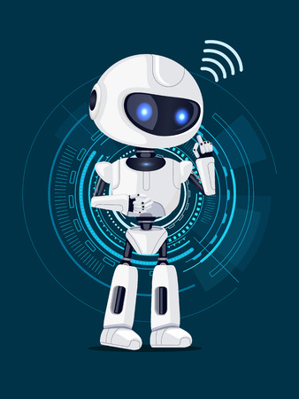 Robot and Interface Poster Vector Illustration