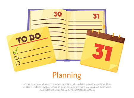 Planning list with check boxes
