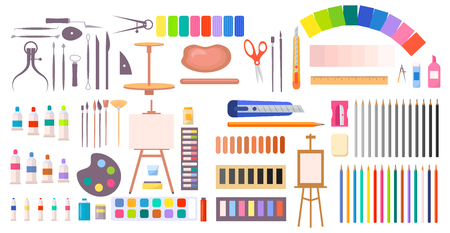 Art supplies vector illustration with icons