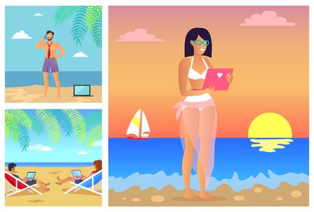 Set of summer time banners Illustration