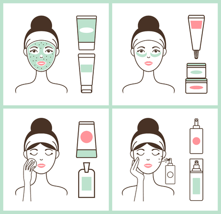 Girl Applying Creams Posters Vector Illustration