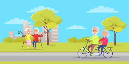 Grandmother and Grandfather Sit on Bench and Ride. Иллюстрация