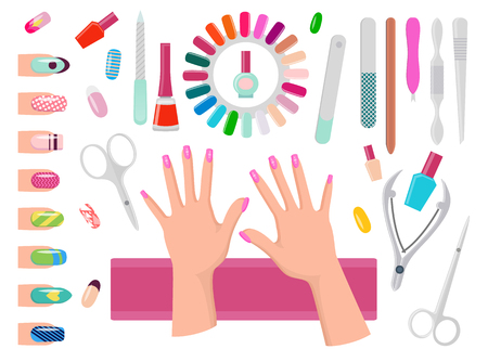 Female Hands with Pink Nails and Manicure Tools