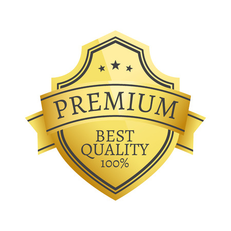 100 Premium Quality Choice Golden Label Isolated Ilustrace