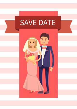 Save Date Happy Couple Banner Vector Illustration.