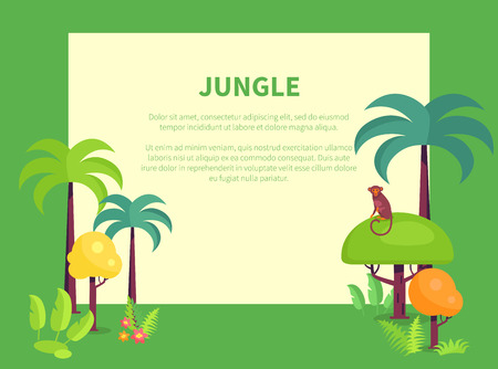 Jungle Banner with Place for Text, Green Palms 일러스트